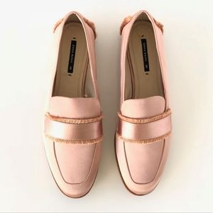 Zara Basic Light Pink Satin Fringe Loafer Flats